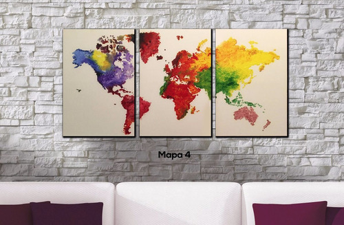 cuadros triptico mapa mundi a elección xl 93x44 cm total