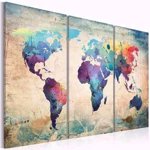 cuadros triptico  mapa mundo texturas