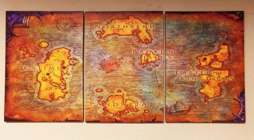 cuadros - tríptico mapa world of warcraft xl (90x44cmtotal)