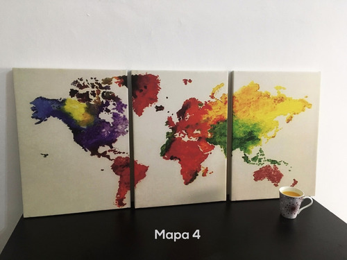 cuadros triptico mapamundi a elección l 80x40 cm total