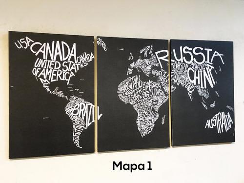 cuadros triptico mapamundi a elección xl 90x44 cm total
