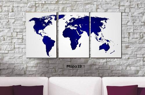 cuadros triptico mapamundi a elección xxl 120x55 cm total