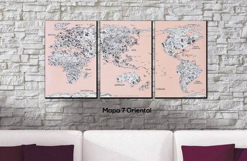cuadros triptico mapamundi a elección xxxl 165x80 cm total