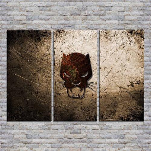 cuadros trípticos 90x60 escudo black phanter marvel y más