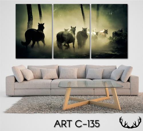 cuadros tripticos caballos moderno decoratvo 120x60