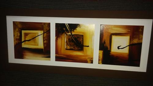 cuadros tripticos de 1.10 de largo x 45 de alto.