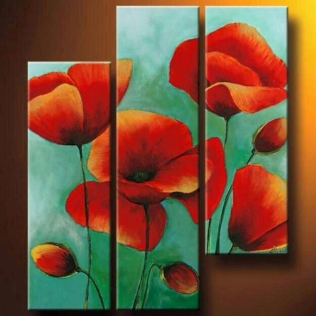 Cuadros Tripticos Con Flores Rojas