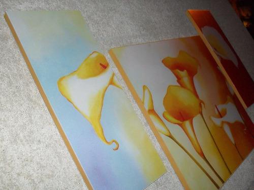 cuadros tripticos las calas - flores rosas decoración l