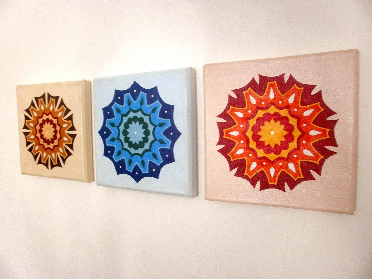 Cuadros tripticos mandalas pintados decorativos modernos - Cuadros mandalas ...