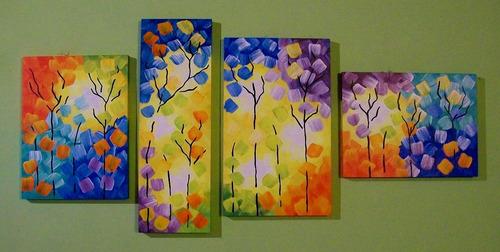 cuadros tripticos modernos abstractos florales arboles