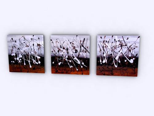 cuadros tripticos modernos abstractos y florales en acrilico