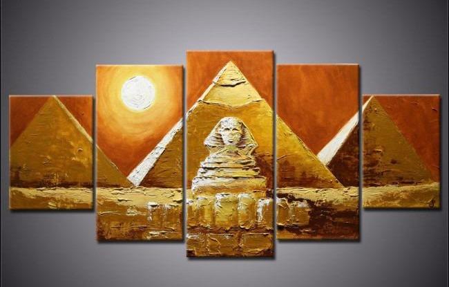 cuadros tripticos modernos egipcios pintados a mano textura