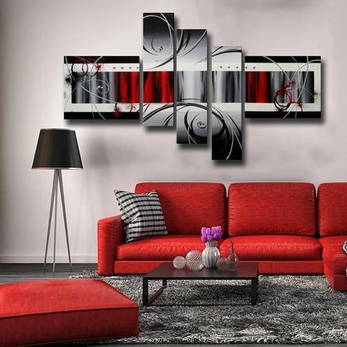 cuadros tripticos modernos en rojo, gris, negro, con relieve