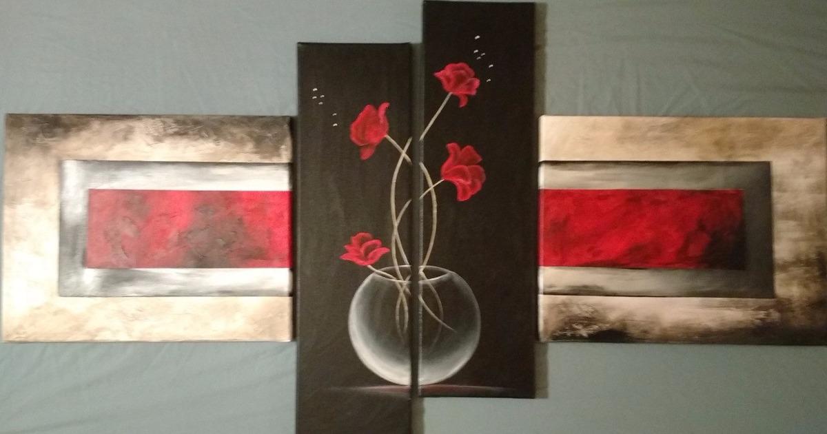 cuadros tripticos modernos florales pintados a mano textura