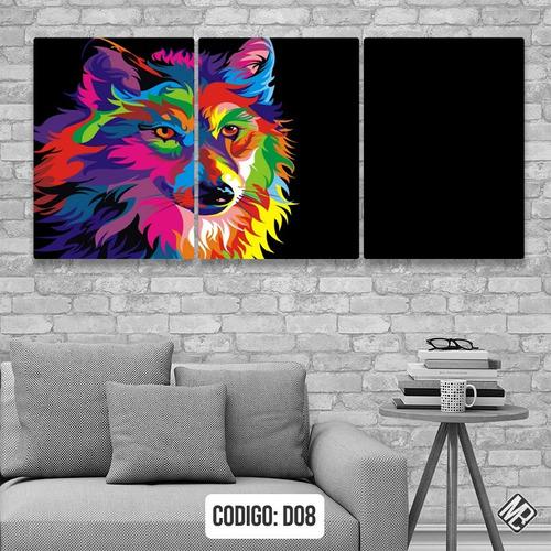 cuadros tripticos modernos perro colores 180x84cms deco02