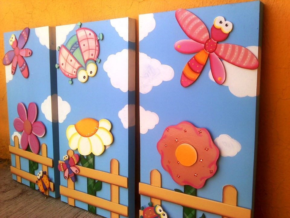 Cuadros y tripticos para recamaras de ni as en - Cuadros para habitaciones infantiles ...