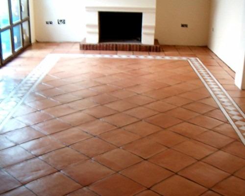 Cuarteron de barro rustico 40 x 40 x 0 5 en for Baldosas para pisos interiores