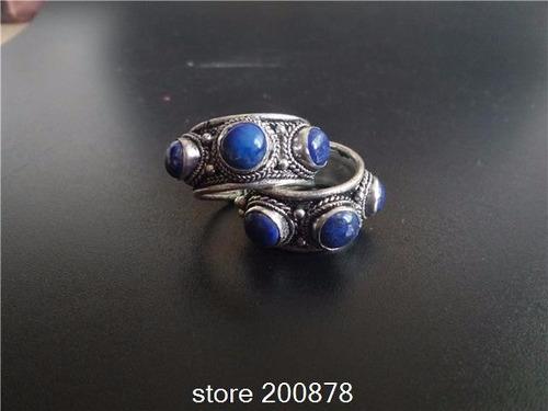 cuarzos,  anillo de plata tibetana con piedra lapislazuli