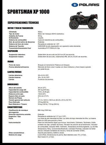 cuatriciclo polaris sportsman xp 1000 eps blueink pinamar