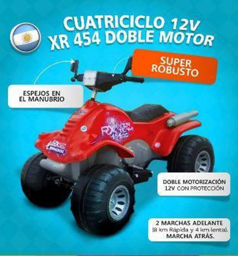 cuatriciclo rx bateria 12 volt 2 vel rodacross 454 babymovil