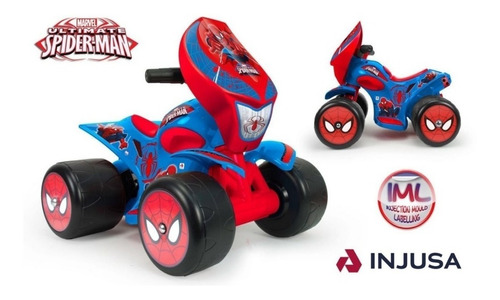 cuatrimoto quad wrestler montable spiderman 6v injusa