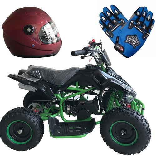 cuatrimoto raptor 49cc + casco niño + guante niño