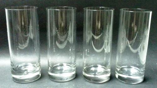 cuatro bellos vasos altos cristal 50 tallado átomos