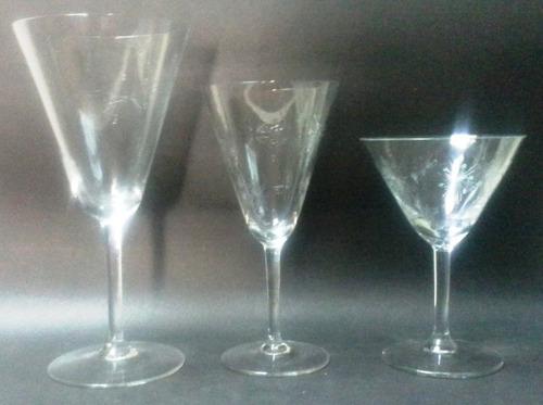 cuatro copas para agua cristal 50's tallado átomos