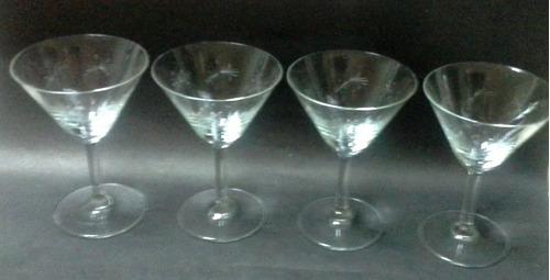 cuatro copas vino blanco cristal 50's tallado átomos