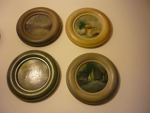 cuatro cuadros pequeño formato redondos 14cm. de diámetro.