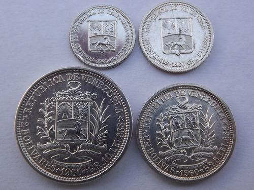 cuatro monedas de plata: 2, 1, 1/2 y 1/4 bolívares. año 1960