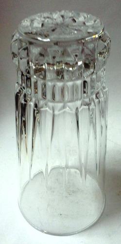cuatro vasos altos vidrio transparente base cortes