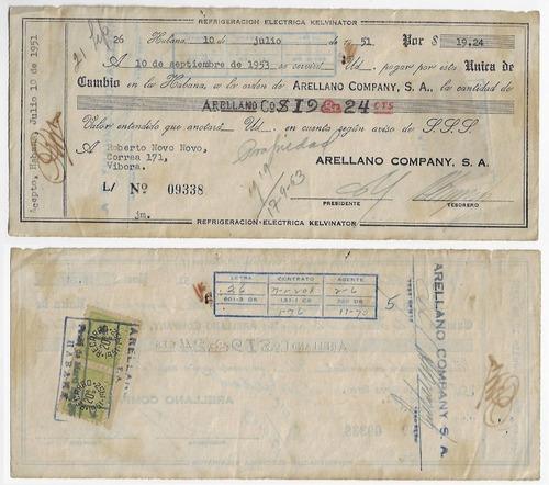 cuba 1951 documento com 2 selos fiscais