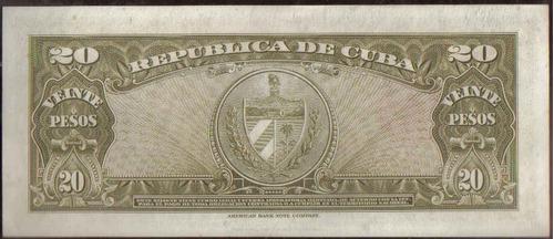 cuba 20 pesos 1958 p80b