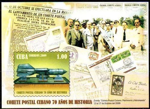 cuba 2009 - aniversário do foguete postal. 1 bloco