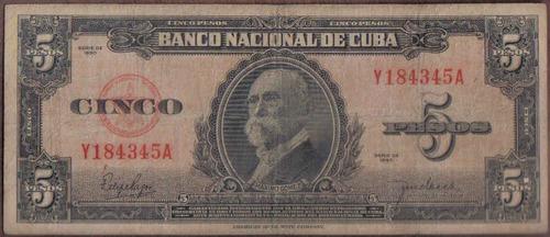 cuba 5 pesos 1950 p78b