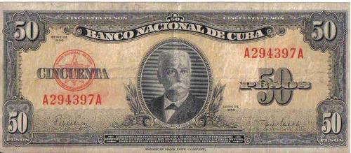 cuba 50 pesos 1950 p81a