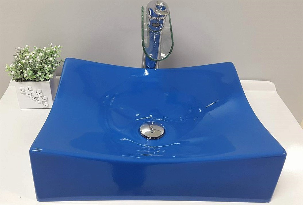Cuba De Apoio Para Banheiro Formato Folha Azul  Pádua  R$ 179,99 em Mercado -> Cuba Para Banheiro Folha