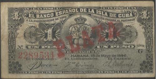 cuba banco español, 1 peso 15 may 1896 plata p47b