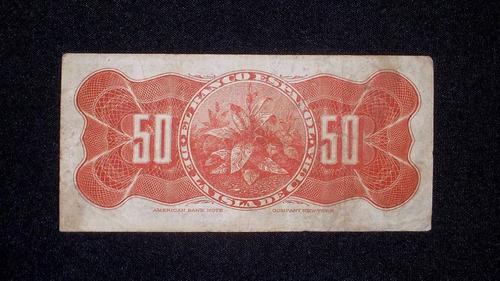 cuba, (banco español) 50 centavos - 1896