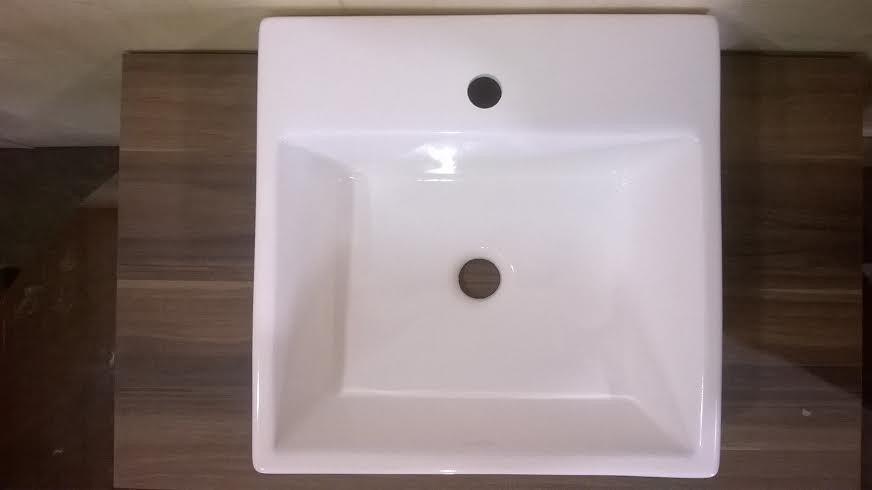 Cuba Banheiro Pia Semi Encaixe Quadrada Branca Sobrepor  R$ 389,00 em Mercad -> Cuba Banheiro Branca