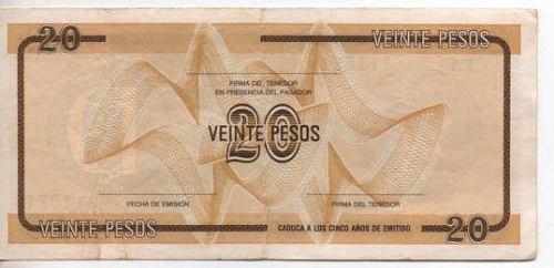 cuba certif divisa  20 pesos serie d  s/sello bm 2090