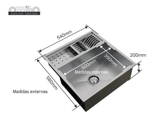 cuba com calha úmida integrada completa inox 304 com válvula