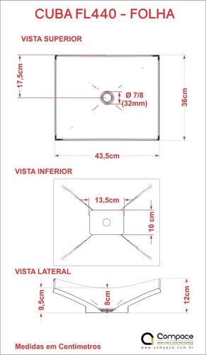 cuba de apoio f44 retangular 43,5x36cm