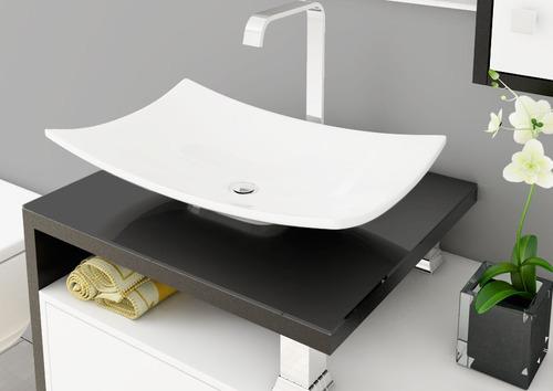 cuba de apoio formato folha p/ banheiro 43,5cm bari branco