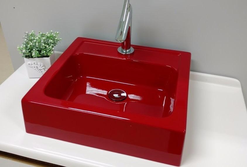Cuba De Apoio Para Banheiro Quadrada Gênova Vermelho  R$ 129,99 em Mercado L -> Cuba De Apoio Para Banheiro Quadrada
