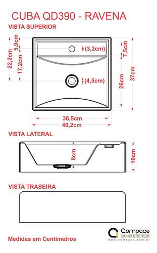 cuba de apoio q39 quadrada 40x37,5cm