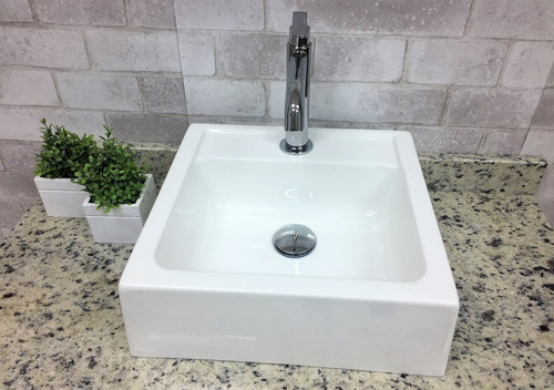 cuba de apoio quadrada p/ banheiro 34cm bréscia branco