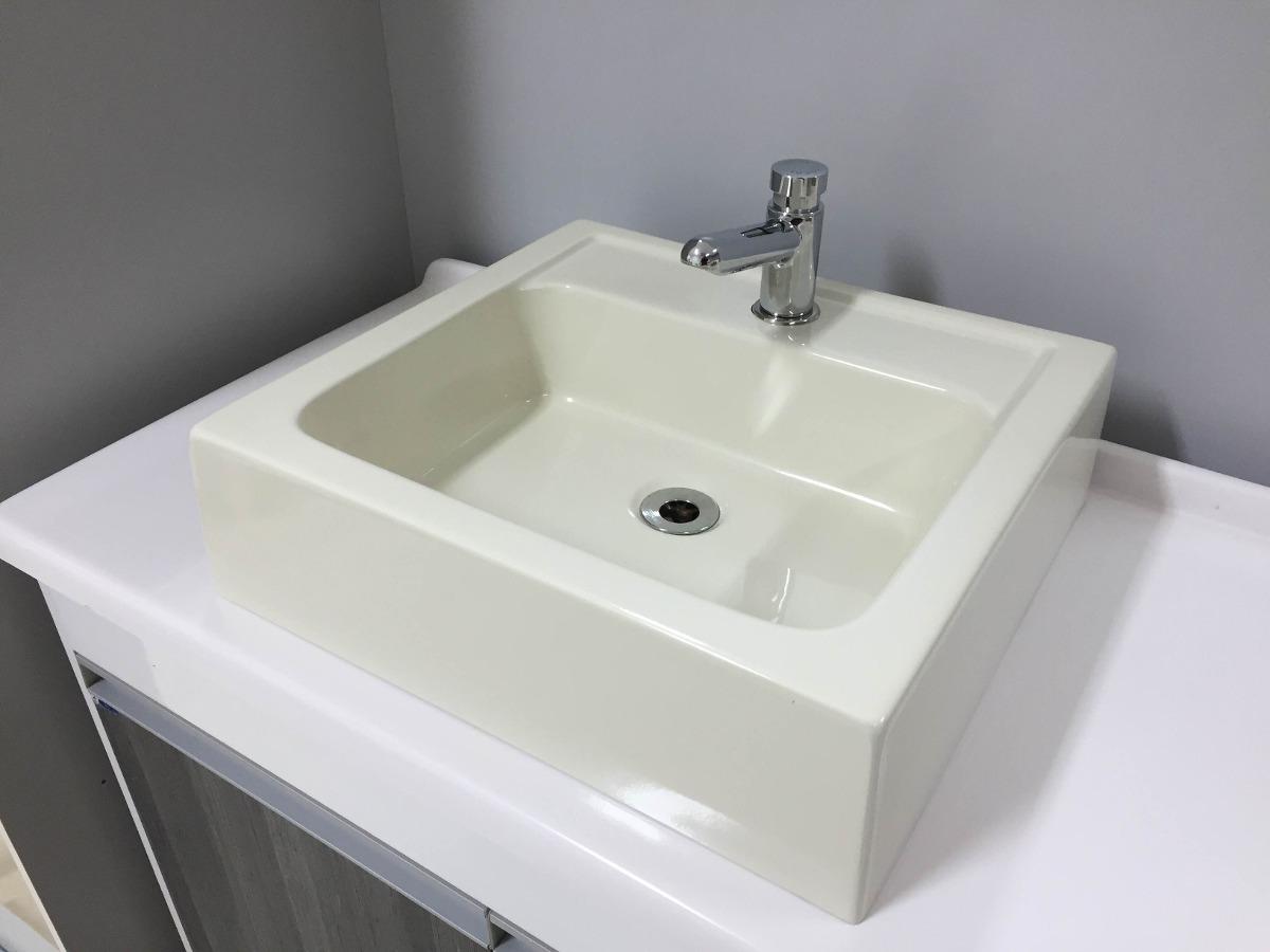 Cuba De Apoio Quadrada Para Banheiro Gênova Biscuit  Bege  R$ 159,99 em Mer -> Cuba De Banheiro Laranja