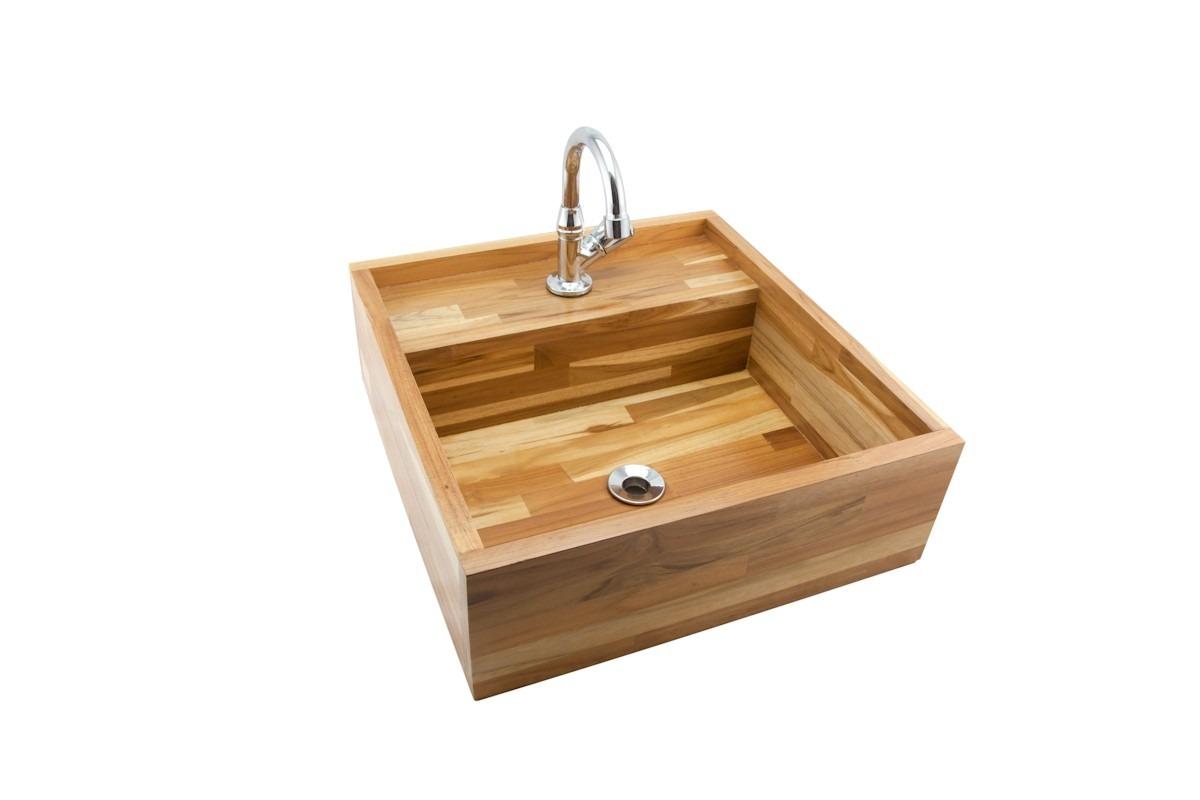 Cuba De Banheiro De Madeira Teca  R$ 275,00 em Mercado Livre -> Pia De Banheiro Madeira